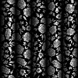 Curtain Illusion Seamless Pattern. Seamless pattern with abstract flowers and leaves. Cold metal colors for illusion of brocade curtain. Floral textile contrast stock illustration