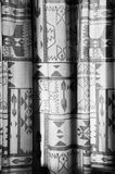 Curtain with Indian motives. In black and white Royalty Free Stock Photo