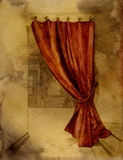 Curtain in interior. Watercolor in red-yellow tones Royalty Free Stock Photos