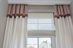 Curtain interior decoration in living room stock photos