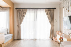 Curtain interior decoration in living room. With sunlight Royalty Free Stock Images