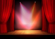 Curtain with lights. Red stage open theater velvet curtain with lights spots vector illustration Royalty Free Stock Photography