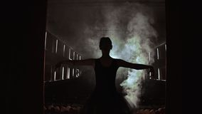 Curtain Opens as Ballerina Entering Stage For Performance Spectacle Female Power Fragility Smoke Silhouette Slow Motion. stock footage