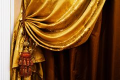 Curtain with an ornament Stock Images