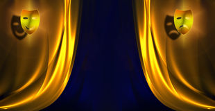 Curtain pattern. Wide open curtain pattern Stock Photography