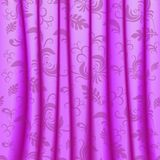 Curtain with pleats and damsk ornaments Stock Image
