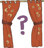 Curtain with Question Mark Royalty Free Stock Image