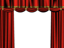Curtain of red velvet. Illustration of a curtain of red velvet in a theatre Stock Image