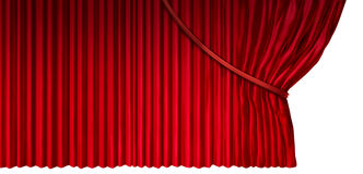 Curtain Reveal. As cinema or theater drapes with red velvet material opened on the side as a design element for a presentation or announcement isolated on a Stock Photo
