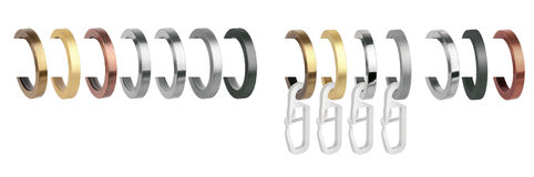 Curtain rings for eaves. Metal rings with clips for cornices. Curtain rings for eaves. Metal rings with clips for curtain cornices Stock Image