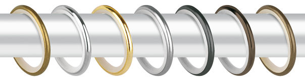 Curtain rings for eaves. Metal rings with clips for cornices Royalty Free Stock Photos