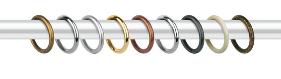 Curtain Rings For Eaves. Metal Rings With Clips For Cornices Royalty Free Stock Photo