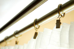 Curtain Rod. Rings with clips Royalty Free Stock Images
