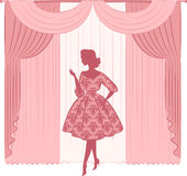 Curtain with silhouette of girls. Stock Image