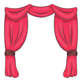 Curtain on stage icon, cartoon style Royalty Free Stock Photos