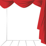 The curtain and the stage. Vector illustration. Black and white scene behind the scenes red. Vector picture Royalty Free Stock Photos