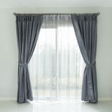 Curtain with sunlight. Curtain interior decoration in living room with sunlight Royalty Free Stock Image