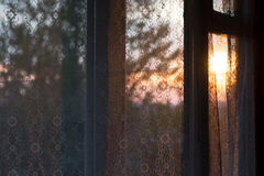 Curtain with sunlight in the morning. A curtain with sunlight in the morning Stock Photography