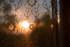 Curtain with sunlight in the morning. A curtain with sunlight in the morning Stock Photo