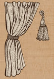 Curtain and tassel. Vintage drawing isolated objects Royalty Free Stock Photos
