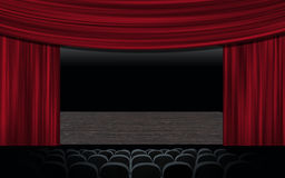 Curtain up. Theatre stage curtain.Theatre Hall of spectator armchairs-parter.Background posters Royalty Free Stock Photo