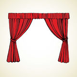Curtain. Vector drawing. Elegant luxury classic circus bright scarlet satin fold sign on light backdrop. Outline hand drawn picture logo sketchy in retro art Royalty Free Stock Image
