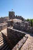 The curtain walls and solid tower of the Castle of the Moors.  S Royalty Free Stock Photos