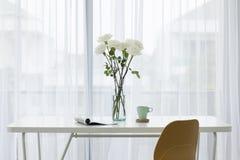 Curtain white daylight table chair Stock Photos