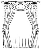 Curtain on a Window. Black and white illustration Stock Illustration