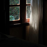 Curtain at the window in morning Stock Photo