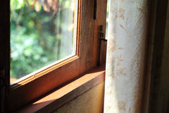 Curtain at the window in morning Stock Image