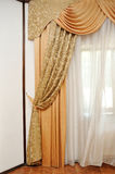 Curtain yellow gold on retro background Stock Image