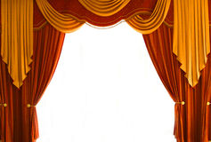Curtains. Red-Brown and golden-yellow coloured curtains over white Stock Photos