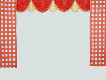 Curtains. Detail of curtains with decorative flowers Stock Photo