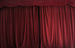 Curtains. Red Velvet Theater curtains Royalty Free Stock Image