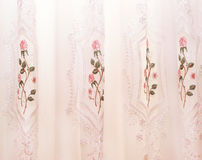 Curtains. Luxurious pink curtains as a background Royalty Free Stock Photos