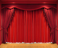 Curtains. Ornate red curtains covering the whole window Royalty Free Stock Photography