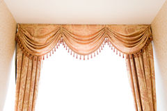 Curtains. Brown velvet theater curtains in a room over white background Stock Image