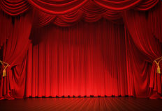 Curtains. Stage with open velvet curtain Royalty Free Stock Image