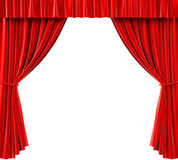 Curtains. Red curtains on a white background Royalty Free Stock Photography