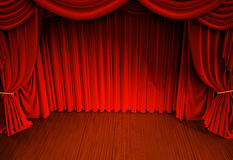 Curtains. Stage with open velvet curtain Royalty Free Stock Photography