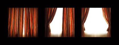 Curtains. The curtains are opening and the light is comming in Stock Photos