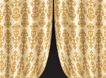 Curtains. The curtains closing a night window. Vector illustration Royalty Free Stock Photos