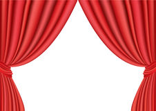 Curtains. Red theater curtains on white Stock Photos