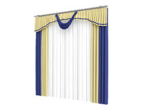 Curtains. Rendered 3d isolated curtains on white background Stock Image