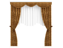 Curtains. Rendered 3d isolated curtains on white background Stock Photos