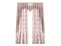 Curtains. Rendered 3d isolated curtains on white background Stock Images