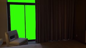 Hotel Bedroom Curtains Open to Reveal Green Screen View. 8451 Curtains automatically open in a luxurious hotel bedroom to reveal a large green screen view stock video