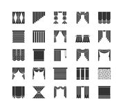 Curtains & blinds. Window drapes. Flat icon collection. Isolated. Curtains & blinds. Window drapes. Different styles of draperies. Roman, roller, pleat, panel stock illustration