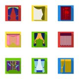 Curtains, cornice, print, and other web icon in flat style. Fabric, ribbon, bow, icons in set collection. Stock Images